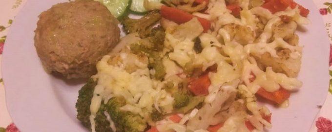 Мясные зразы и овощное трио