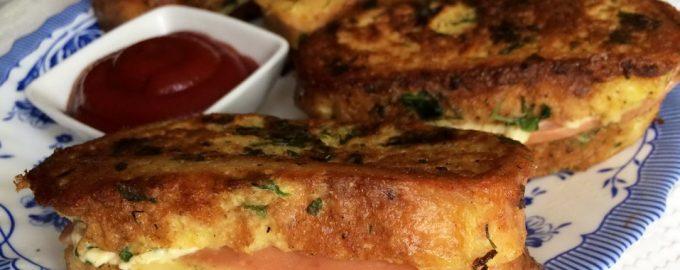 Горячие бутерброды-гренки с сыром и зеленью