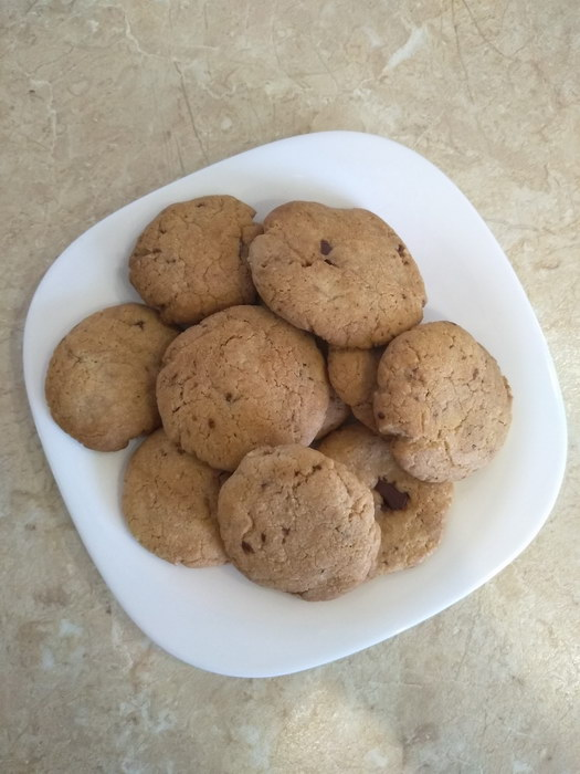 Печенье с шоколадными кусочками, как покупное