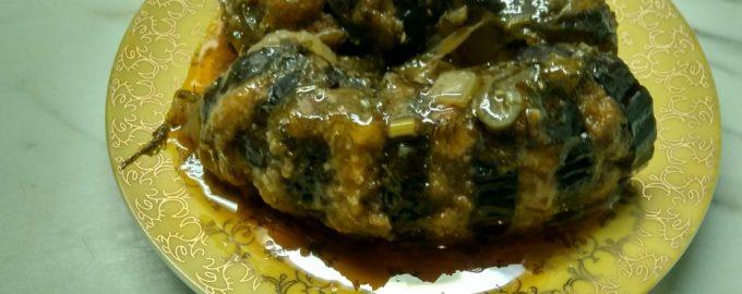 Горячее блюдо из баклажанов «Гармошка»