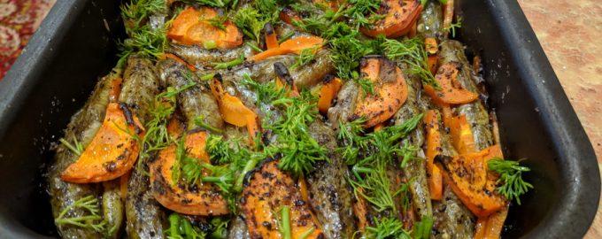 Черноморская барабулька, запеченная в духовке